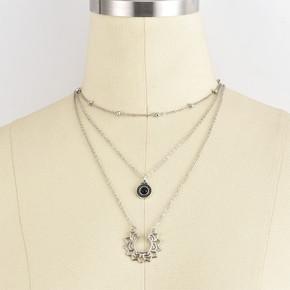 Ladies Black Crystal Semicircular Lotus Multilayer Silver Necklace Jewelry Set