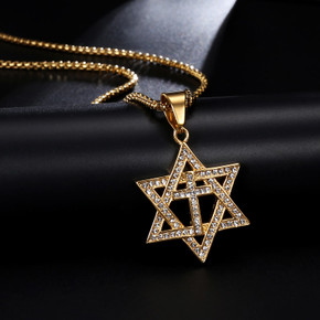 Full Stone 14k Gold Over Stainless Steel Star of David Cross Pendant Chain Necklace