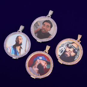 18k Gold .925 Silver Flooded Ice Swerve Purple Ice Custom Made Photo Hip Hop Pendant Chain Necklace