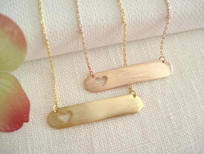 Elegant Dainty Open Cutout Heart Bar Stainless Steel Chain Necklaces