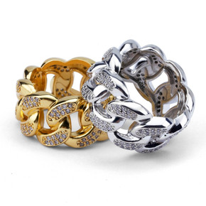 AAA Prong Set Stone Miami Cuban Link Rings