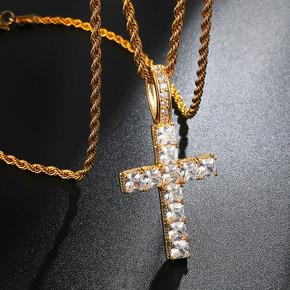 18k Gold Prong Set AAA Stone Princess Cut Cross Chain