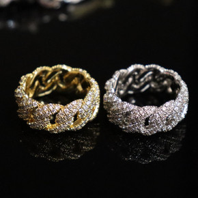 Ultra Ice 18k Gold .925 Silver Cuban Link AAA True Micro Pave Hip Hop Rings