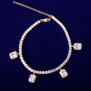 AAA Simulated Diamond Stone 24k Rose Gold .925 Silver Tennis Ruby White Bling Bracelet