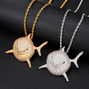 18k Gold .925 Silver 3D AAA Micro Pave Shark Head Pendant Chain Necklace