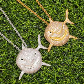 3D 18k Gold .925 Silver Shark Face Pendant Chain Necklace