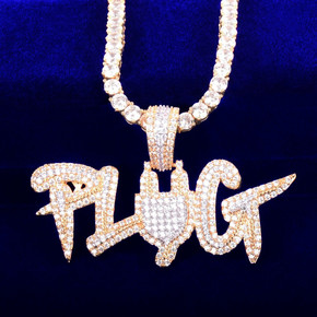 Hip Hop Two Tone 18k Gold 925 Silver Plug AAA Flooded Ice Pendant