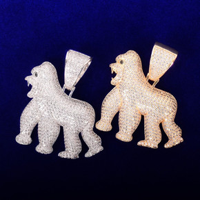 18k Gold Silver Its Real In The Field ApeShit Gorilla Hip Hop AAA Pendant Chain Necklace