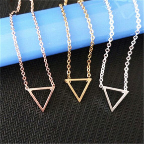 Ladies Inverted Triangle Gold Silver Rose Gold Stainless Steel Boho Chain Necklaces