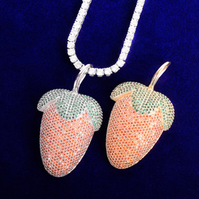 AAA True Micro Pave 18k Gold 925 Silver Strawberry Flooded Ice Pendant Chain Necklace