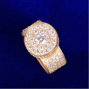 Mens Flooded Ice Micro Pave 18k 925 Circle Centerstone Hip Hop Rings