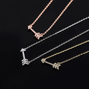 925 Sterling Silver Cupids Arrow Bling Charm Pendant Chain Necklace
