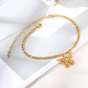 Women's Boho Fashion Stainless Steel 14k Rose Gold Platinum Butterfly Bracelets
