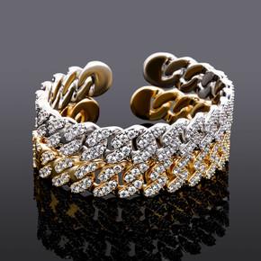 14k Gold 925 Silver Flooded Ice Miami Cuban Link Bangle Style Hip Hop Iced Bracelets