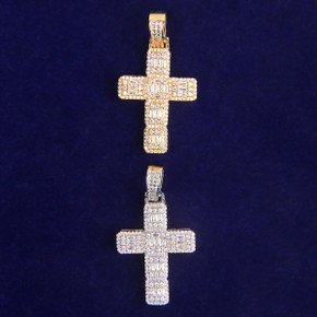 5A Thick Cut Flooded Ice Baguette Cross Bling Hip Hop Pendant Chain Necklace
