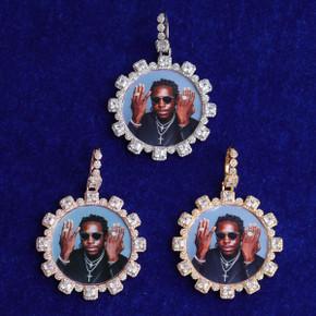 5A 4 Prong Center Stone Hip Hop Custom Photo Medallion Bling Pendants
