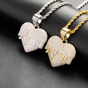 Love Overflow Flooded Ice Hip Hop Heart Bling Pendant Chain Necklace