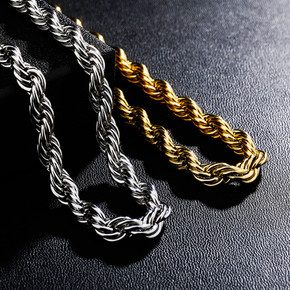 Mens Street Wear Classic 8MM Stainless Steel Rope Link Hip Hop Casual Chain Necklace