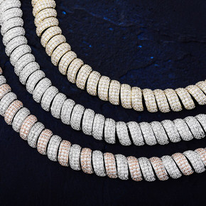 New 14mm Flooded Ice 5A Stone Hip Hop Twisted White Yellow Gold Torque Chain Necklace