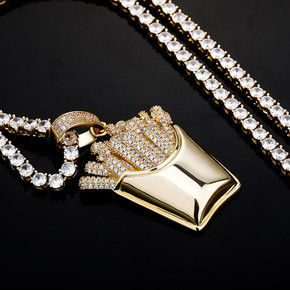 Flooded Ice Full Paved White Yellow Rose Gold Hip Hop French Fries Box Bling Pendant