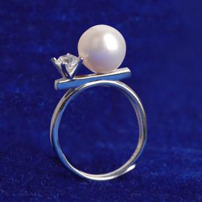 Ladies Genuine Pearl 5A Stone 925 Sterling Silver Bling Rings
