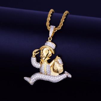 18k Gold Monopoly Money Bags Cuban Link Hip Hop Pendant Chain Necklace