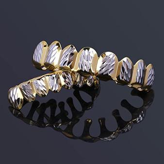 14k Gold Star Struck Diamond Cut Custom Top and Bottom 8 Teeth Iced Out Look