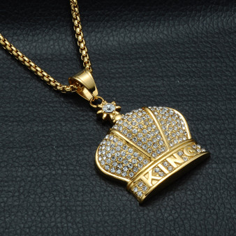 14k Gold Over Solid Stainless Steel Kings Crown Pendant