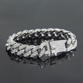 .925 13mm Iced Miami Cuban Link Classic Bracelet