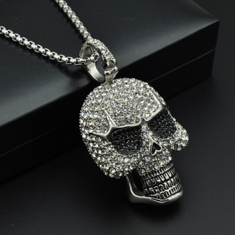 Micro Pave Lab Diamond Skeleton Skull Chain Pendant