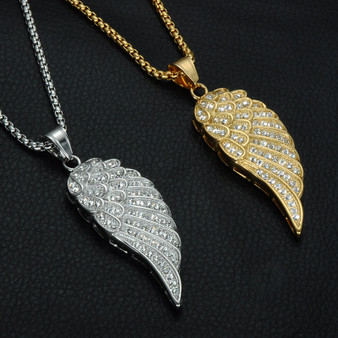Mens Iced Out Titanium Stainless Steel Angel Wings Hip Hop Chain Necklace