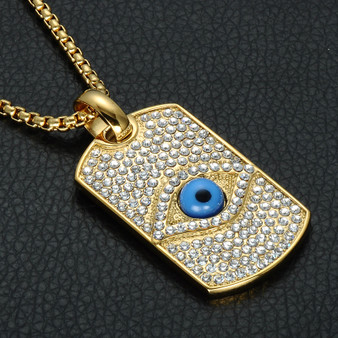 All Seeing Eye Pendant Bling 14k Gold Titanium Dog Tag