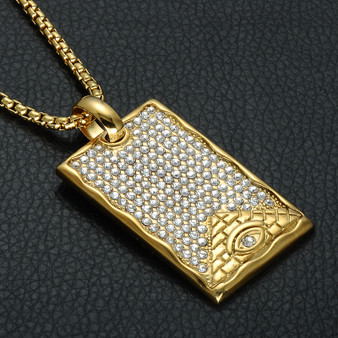 Mens Iced Out 14k Gold Square Dog Tag Pyramid Eye Pendant Chain Necklace