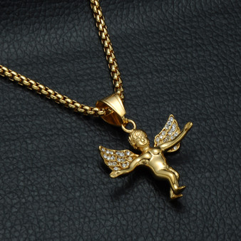 14k Gold Open Arm Angel Of Love Pendant Chain Necklace