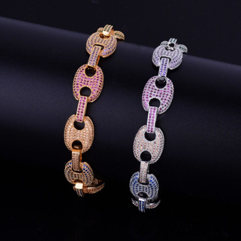 G-Link 24k AAA True Micro Pave Flooded Ice Colorful Stone 12MM Mixed Color Hip Hop Bracelet