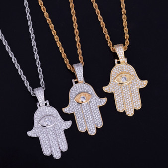 AAA Flooded Ice Fatima Hand True Micro Pave 18k Gold .925 Silver Hip Hop Chain Pendant