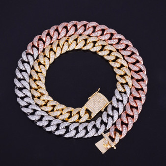 Mens 12mm Iced Out Mixed Color Rose Gold Silver Hip Hop Cuban Link Chain Necklace
