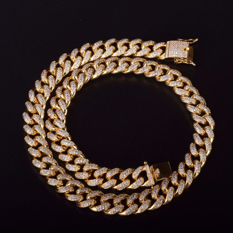 24k Gold .925 Silver Rose Gold 12mm AAA True Micro Pave Cuban Link Box Lock Chain Necklace