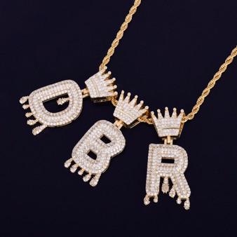 18k Gold .925 Silver Custom Crown Bail Drip Drop Initials Bubble Letters Hip Hop Pendant Chain Necklace
