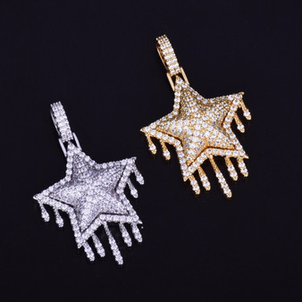 Drip Drop 18k Gold .925 Silver Super Star Flooded Ice Pendant Chain Necklace
