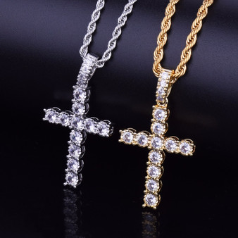 22k Gold .925 Silver Classic Cross Pendant