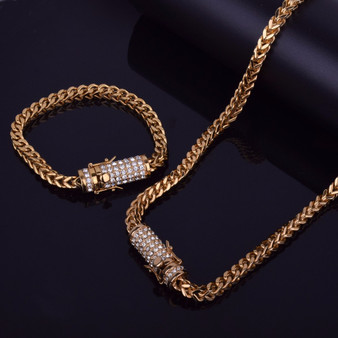 18k Gold .925 Silver Hip Hop Stainless Steel Franco Cuban Box Link AAA Stone Chain Necklace Bracelet Set