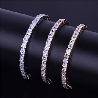 24k Gold Rose .925 Silver 5mm Flooded Ice  AAA Princess Cut Stone Tennis Chain Bling Bracelet