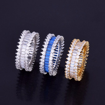 Flooded Ice AAA 18k Gold .925 Silver Micro Pave Setting Baguette Stone Rings