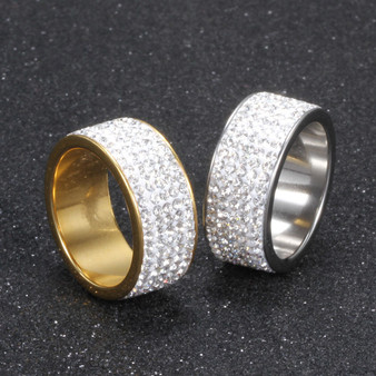 Mens 14k Gold .925 Silver Over Stainless Steel Hip Hop Circle Stone Titanium Rings