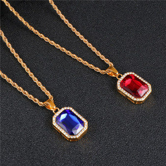 Red Blue Ruby Gemstone 14k Gold Stainless Steel Hip Hop Chain Necklace