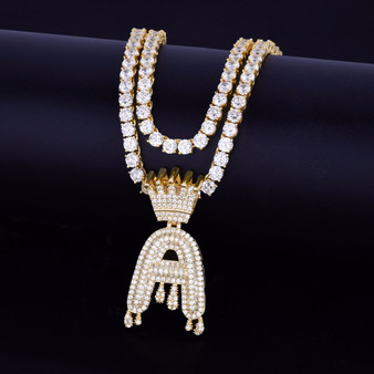 Custom Crown Bail Drip Initials Pendant
