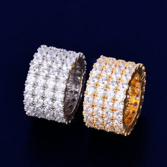 18k Gold .925 Silver Men's Four Row Solitaire AAA True Micro Pave Flooded Ice Ring