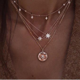 Bohemian Fashion Delicate Crystal Tassel Rhinestone Star Multilayer Gold Necklace Charm