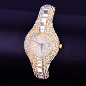 Ladies Lab Diamond Luxury Candy Baguette Iced Gold Stainless Steel Bling Watch